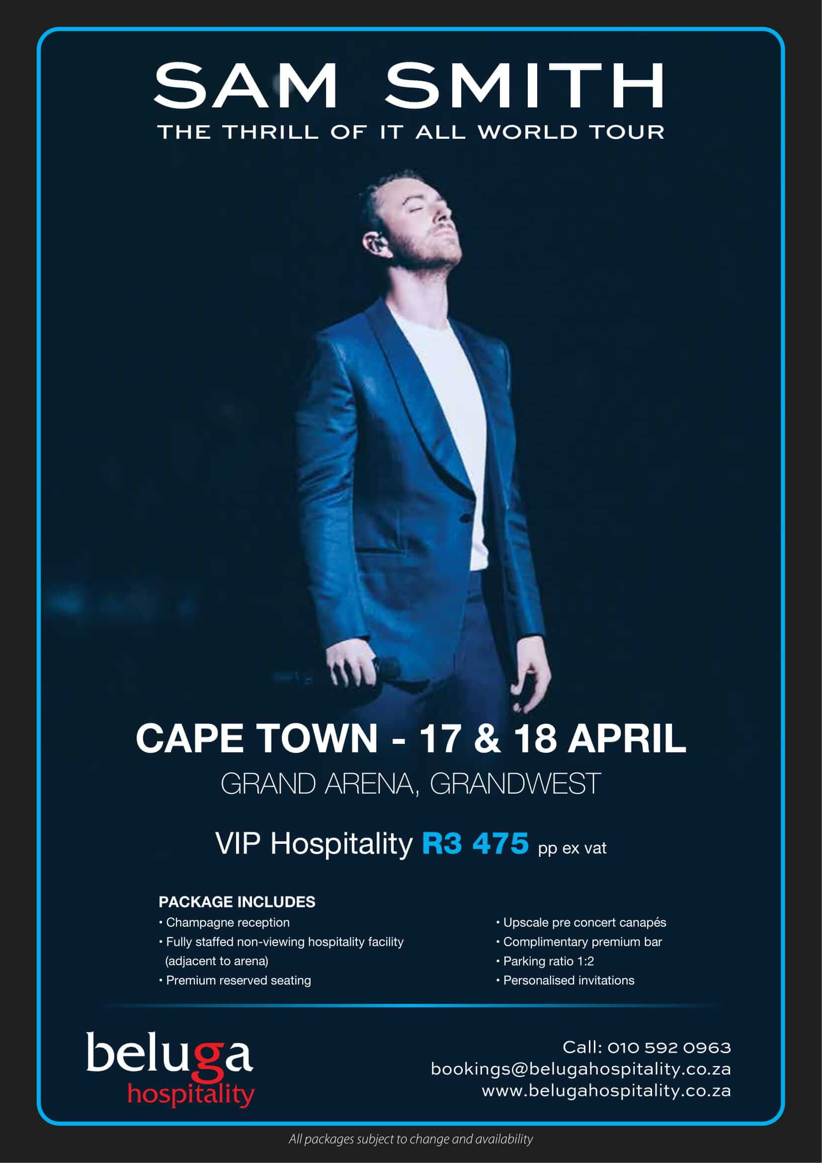 Sam Smith - The Thrill of it All World Tour - Beluga Hospitality-flyer