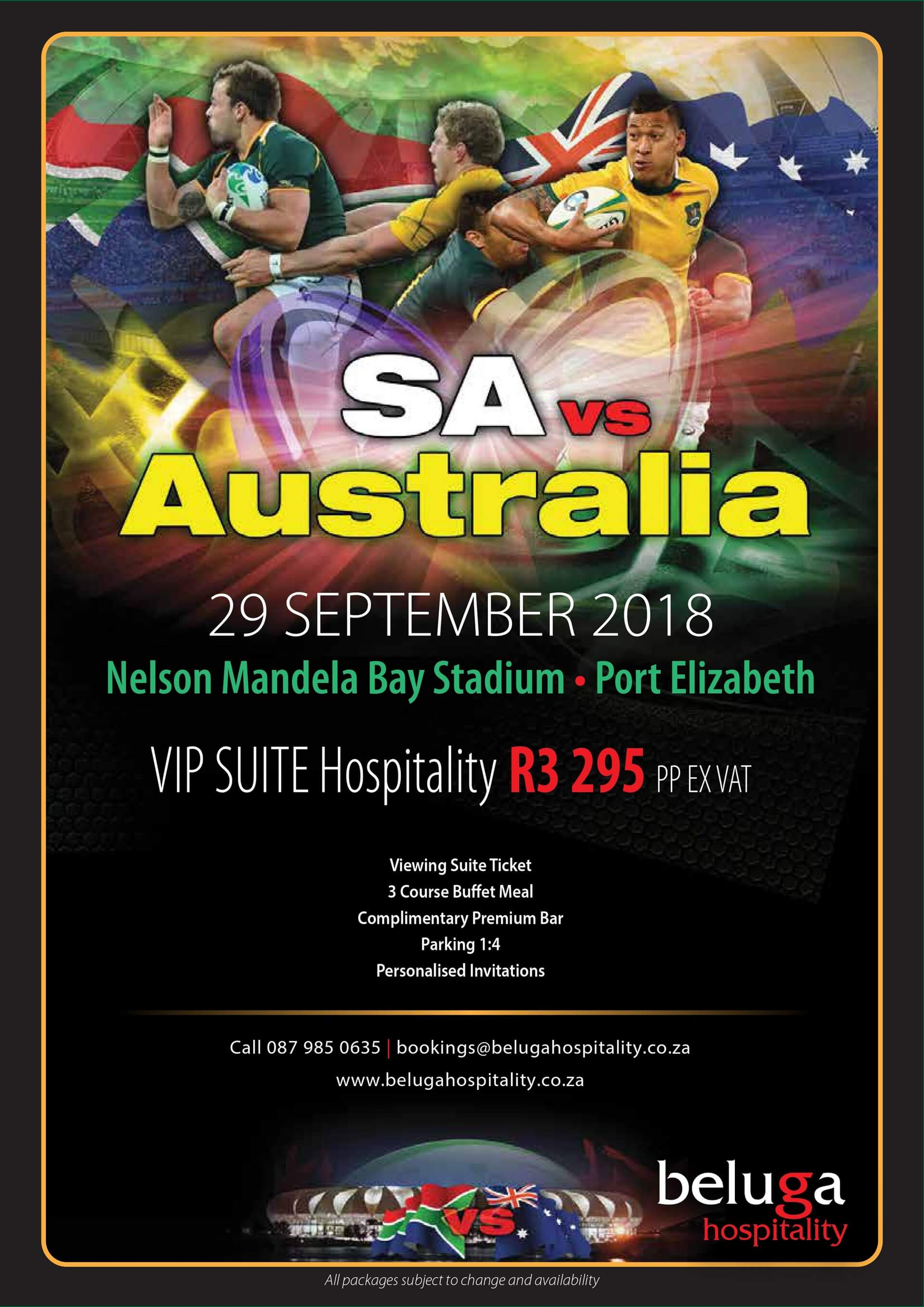 The Rugby Championship - South Africa vs Australia - Beluga Hospitality-flyer